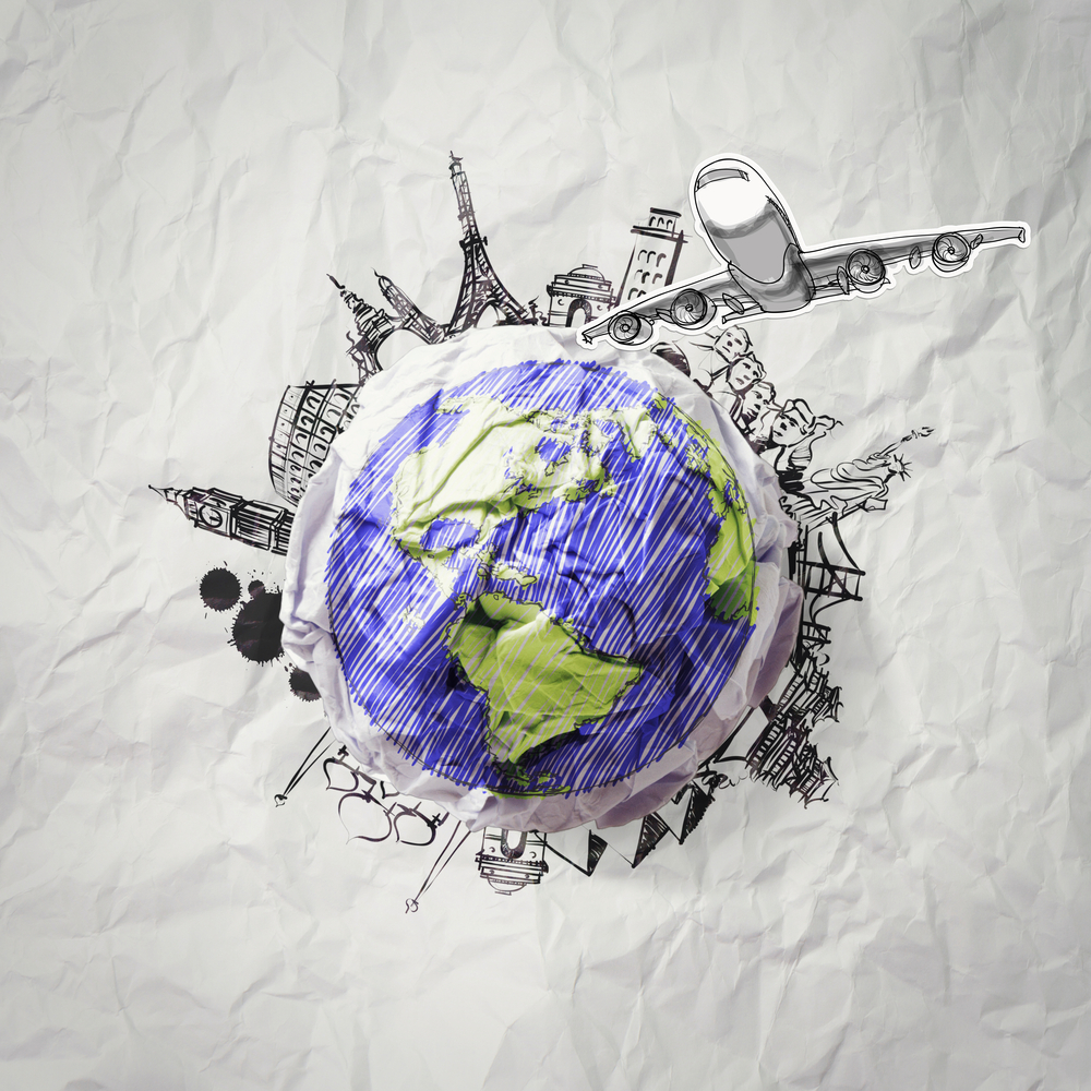crumpled paper and traveling around the world as concept-1